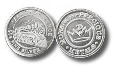 100 - 1/10 oz. 999 Fine Silver Rounds -  Steam Train Design - BU - Monarch