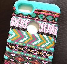 IPhone 7 / 8 - HARD&SOFT Rubber Hybrid Case Cover Mint Green Pink Aztec Tribal