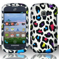 Samsung Galaxy Centura S738C Rubberized HARD Case Phone Cover Rainbow Leopard