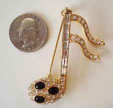 16th Note Rhinestone Goldtone Music Brooch Pin Large Stunning!