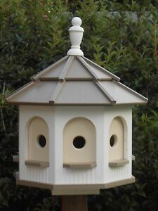 Large Poly Handcrafted Handmade Homemade Birdhouse Garden Clay & White