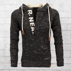 Rusty Neal Männer Strick-Pullover mit Kapuze schwarz creme weiss Herren Sweater