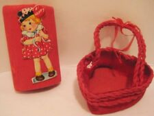 2 Old Crepe Paper Valentines Day Decorations - Heart Candy Basket + 1