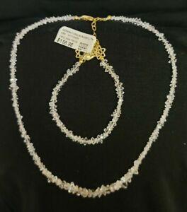 Herkimer Mines Diamond Quartz NECKLACE & BRACELET Set GOLD PLATED  Ret. $160$