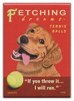 Retro Dogs Refrigerator Magnets: GOLDEN RETRIEVER | TENNIS | Vintage Advertising