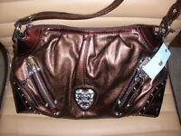 Vintage Kathy Van Zeeland Purse Heart Beat Hobo Oak Metallic Brown H41305 (NWT)