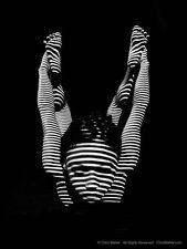 9997-DJA Black White Zebra Woman Bow Yoga Pose Feet Up Photograph Signed Maher