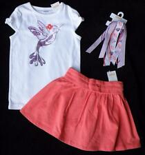 New Gymboree Cherry Blossom Girls size 5 Skirt Shirt Hair Bow PonyTail Clothes