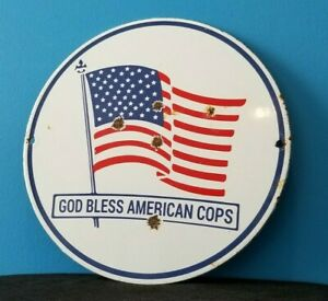 VINTAGE AMERICAN PORCELAIN USA FLAG GOD BLESS POLICE COPS SERVICE SERVICE SIGN