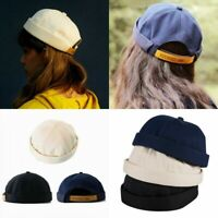 New Mens Unisex Street Casual Docker Sailor Biker Hat Loop Beanie Brimless Cap