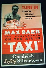 EXTREMELY RARE 1930's MAX BAER 1 sheet boxing poster 25 x 38 movie star boxer