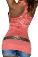 Sexy Women's Embroidered Vest Top Ladies Summer Casual Top One Size 6,8,10,12 UK