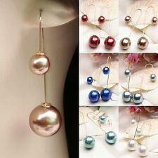 #1157 Women U-Shaped Double Sided Faux Golden  Pearl Ball Drop Dangle Earrings