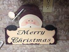 New Wood Merry Christmas Santa Claus Sign-table top or wall hang