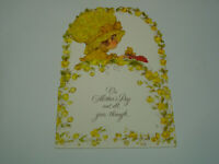 Hallmark Charmers Die Cut Pop Up Mother's Day Greeting Card USA VTG Girl Flowers