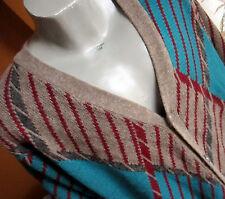LARGE TALL LT True Vtg 80's Mens KNIT NEW WAVE NERD CARDIGAN GEOMETRIC Sweater