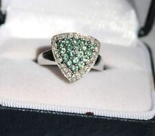 Natural Alexandrite and Genuine Diamond Ring 10K White Gold Trillion Shape