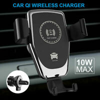 10W Qi Fast Charging Wireless Charger Car Mount Phone Holder Automatic Clamping