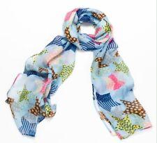BNWT Blue Patterned Star Print Boho Festival Cute Summer Scarf Headscarf Hijab