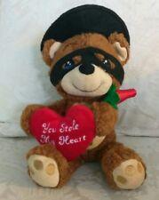 "Precious Moments You Stole My Heart,  Used Plush Bear W/ Flower & Heart. 12"""