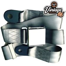 Classic Car Beige 2 Point Chrome Buckle Lap Seat Belt Adjustable Front Rear Grey