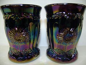 pair / purple amethyst carnival glass dahlia flower pattern tumbler cups set lot