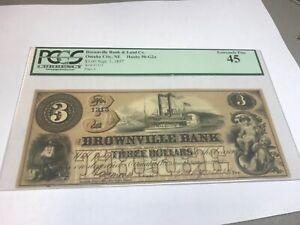 1857 Nebraska Brownville ,  bank of ,  $3 Brown , pcgs xf45,  rare
