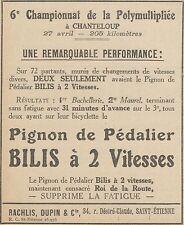 Z9608 Pignon de Pédalier BILIS -  Pubblicità d'epoca - 1924 Old advertising