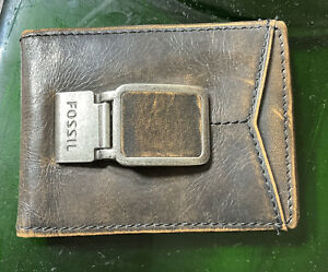 FOSSIL Retro Brown Distressed 100% leather wallet