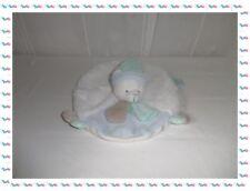 C -  Doudou Semi Plat Ovale Ours Blanc Bleu Beige Layette Baby Nat