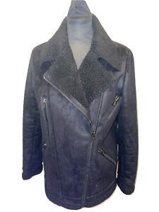 The Kooples Black Faux Shearling Winter Coat Jacket Size M