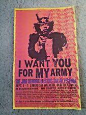 Jimi Hendrix Original Vintage Poster #75/500 ELECTRIC GUITAR FESTIVAL Seattle