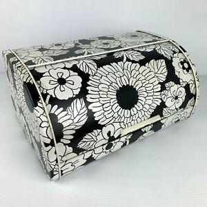 Vintage Willow Flower Power Roll Top Bread Bin Black White Retro 60s Tin Funky