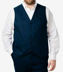 $109 NWOT KINGS' COURT Sz 54 Tall Men's Navy 5 Button Easy Movement Vest 5086
