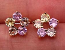 18K Yellow Gold Filled- Hollow Flower Morganite Pink Topaz Citrine Club Earrings