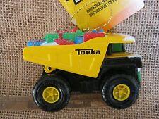 Tonka Mighty Dump Truck w Presents & Snow Christmas Tree Ornament by Kurt Adler