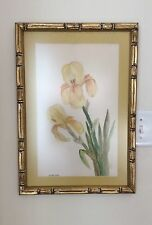 M. Belsher Signed Original Watercolor Painting Yellow Iris Gold Bamboo Frame
