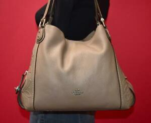 COACH EDIE 31 Pebbled Tea Rose Tooled Leather Shoulder Hobo Tote Purse Bag 12034