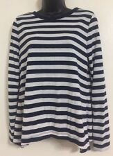 EX NEW M&S Size 6-24 Navy White Stripe Pure Cotton Long Sleeve TShirt Blouse Tee