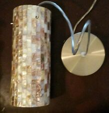 "Etl Mosaic Shell Pendant Light Lamp Satin Nickel Mini 4"" Diameter 9.75"" Tall"