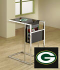 NFL Team Logo on Glass Top of Black and Chrome TV Tray Magazine Rack End Table