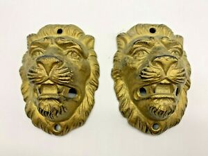 Two Antique Cast Iron Gold Tone Lion Pulls/Or Door Knocks