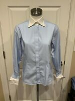 """Brooks Brothers """"346"""" Blue/White Micro-Plaid Button-Up Shirt, Size 6"""