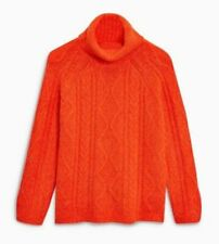 New M&S Womens Ladies knitted orange Cable Knit Roll Neck Jumper size 10