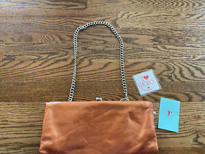 Hobo International Copper Small Wallet Clutch Purse Short Chain Strap Kiss Lock