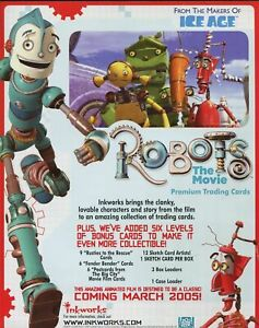 ROBOTS THE MOVIE TRADING CARD DEALER SELL SHEET