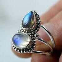 Rainbow Moonstone Labradorite 925 Solid Sterling Silver Handmade Ring