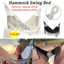 Tassel Camping Hammock 2 Person Bed Chair For Backyard Porch Outdoor Indoor