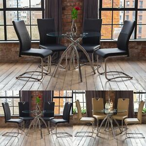 Cecelia Luxury Round Glass Dining Table Set with 4 Luxury Faux Leather Chairs