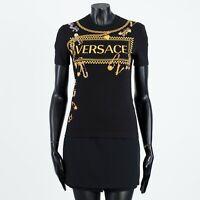 VERSACE 590$ Black Logo Print & Embellished Tshirt